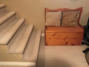 couch, coffee table, large dog kennel, student desk and chair