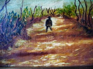 "Vintage Oil on Board ""Man Walking, From A Dream"" 1920's Stratford Kitchener Area image 2"
