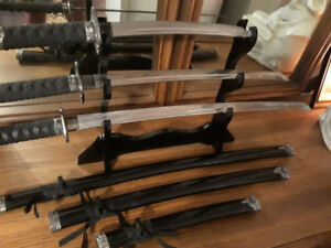 JAPANESE SAMURAI SWORD SET-HIGH QUALITY HAND FORGED ( KATANA + W