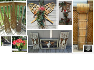 Rustic Outdoor Christmas Decor Angels, Birdhouse, Sled
