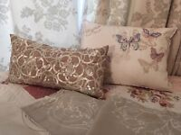 Vintage curtains, double duvet set and cushions for sale
