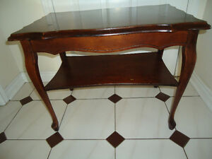FRENCH DARK WOOD SIDE TABLE WITH SHELF - beveled edge top