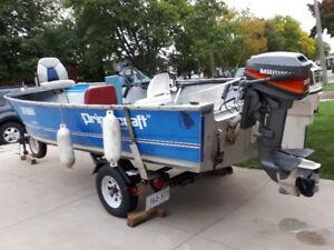 1991 .18.4 foot  79 inches wide princecraft aluminum boat
