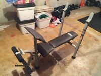 Bench Press with Leg Extension/Curl attachment
