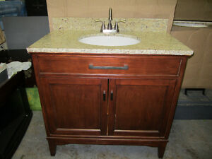 "NEW 36.5"" Bathroom Vanity cabinet Granite Top sink+ Faucet"