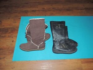 Black leather Geox boots, Brown Suede boots tall