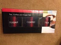 Tea,coffee,sugar canisters set brand new