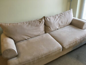 Beige Suede Couch for Sale