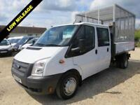 2014 14 FORD TRANSIT 2.2 TDCI 350 CREWCAB TIPPER 125 BHP WITH REMOVABLE CAGE 101