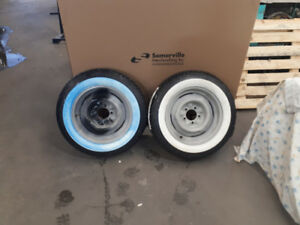 Two Radial Whitewall on Steel Wheels