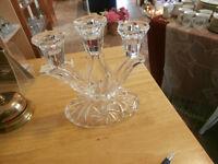 Rare Vintage Pinwheel Crystal Triple Candelabra
