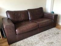 Dark Brown Leather sofa - good condition £220