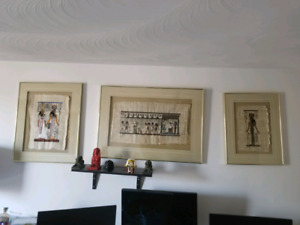 Egyptian Art on Papyrus Paper. In frames $220