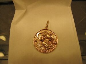 14K yellow gold Pisces pendant with 4 diamonds