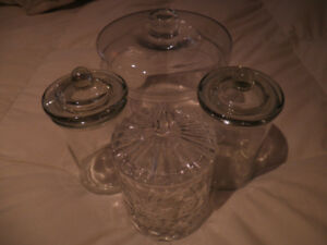 Collection of Vanity/Bathroom Glass Containers
