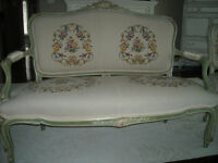 Antique french provincial loveseat & 2 chairs