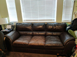 Brown leather couch $250