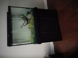 65 Gallon Aquarium  with Black Cabinet & All Accessories