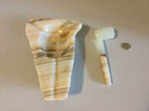 Vintage Onyx Pipe and Ashtray