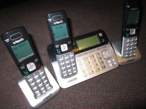 VTECH CS6858-3 Cordless Phone 3 Handset Answering System -- $25.
