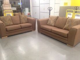 "Brown fabric sofas with cushions ""FREE LOCAL DELIVERY """