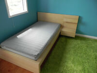 IKEA single bed frame, mattress, side table and dresser