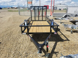 TAX IN! New H&H 5.5x10 Steel Rail Side Flatbed / utility trailer