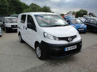 2014 Nissan NV200 1.5 dCi Acenta CREW VAN (5-SEATER). Only 17,000 miles.