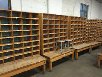 Vintage solid maple cubby units circa 1950's