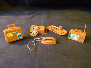 Busy Barbie TV, Tray, Record player, Phone & Suitcase 1972-73