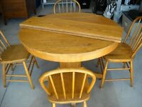 ANTIQUE SOLID OAK/MAPLE DINING TABLE/4CHAIRS
