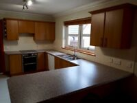 Cherry kitchen cabinets, worktop, sinks.