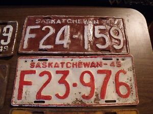 1940's SASKATCHEWAN LICENSE PLATES