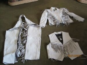 Ladies white leather motorcycle riding outfit