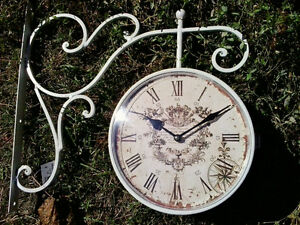 Two Faced Antique Repro Clock and hanger NIB