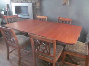 CHERRY ANTIQUE TABLE, 6 CHAIRS - BEST OFFER