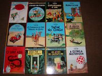 TINTIN COMIC BOOKS BY HERGE (PORTUGUESE) HARDCOVER