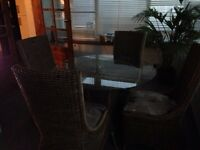 Wicker table and chairs