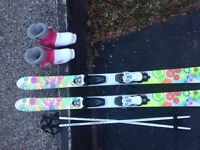 Girls downhill skis and boots