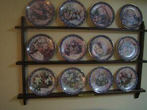 Set of Bradford Exchange Plates - Basket Bouquets & Display Rack