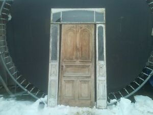antique door with side lights and transom