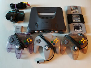 Nintendo 64 with 3 Controllers and 3 Games