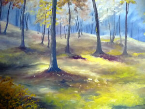 "Original Landscape Painting by H. Brown ""Enchanted Woods"" 1940's Stratford Kitchener Area image 4"