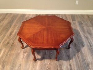 Octagon solid wood coffee table.