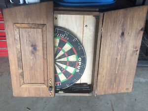 Dart Board, Wood Case, and darts