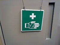 """DOUBLE SIDED MEDICAL FIRST AID HANG UP SIGN 16X16 cm. 6.5""""X 6.5"""""""