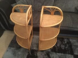 Pair of shelved corner stands