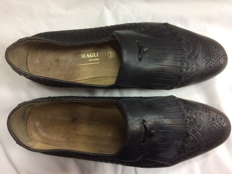 BRUNO MAGLI MENS Black Leather Shoes Size 7.5 7½ Model 42128 41½ Made In Italy