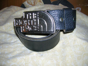 The North Face Black Leather Belt And Buckle Rare Vintage