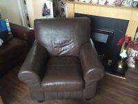 2 piece dark brown leather coated suite